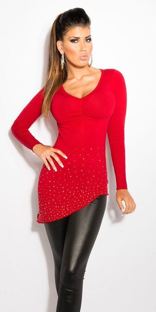 Červený dámský svetr