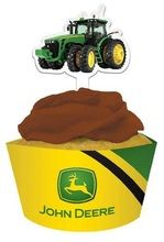 John Deere Paper Cupcake Wraps with Toppers (12Ct.)