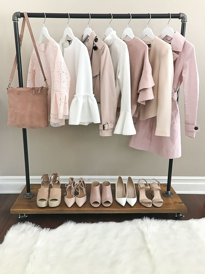 blush sweaters, clothing rack, neutral shoes, rolling clothing rack with wooden shoe rack, spring fashion, wardrobe rack, white bell sleeves