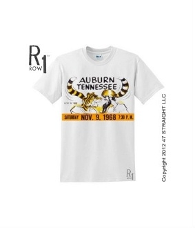 Great football gifts. The BEST football gifts like this '68 Auburn vs. Tennessee football ticket tee. $23.99  Check out hundreds of other football gifts at http://www.shop.47straightposters.com/68-TENNESSEE-VS-AUBURN-Football-Ticket-Shirt-68AUBTN.htm