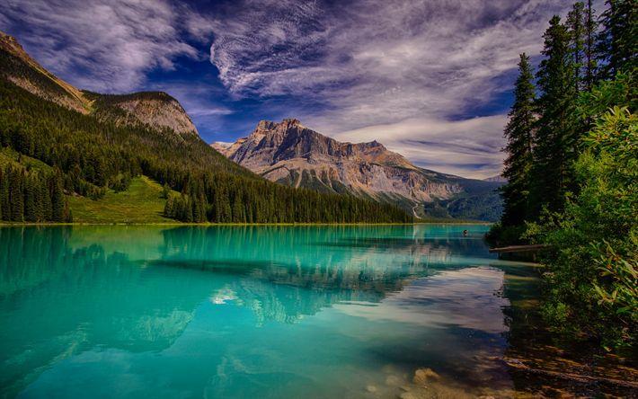 Hämta bilder Emerald Lake, Mountain Lake, Klippiga Bergen, Kanada, British Columbia, Yoho National Park