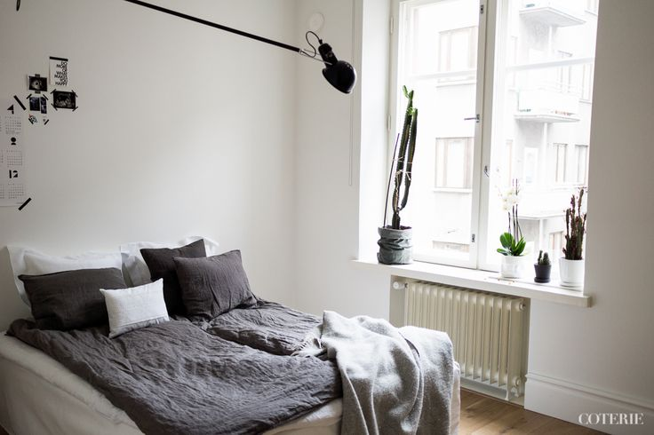 Two friends, one blog driven by a passion for fashion and interior. Join our coterie at www.coterie.fi   #Coterieofficial #Coterie #blog #interior #home #deco #decoration #decor #white #grey #Scandinavian #scandinavianstyle #scandinatiandesign #bedroom #minimalist #walllamp #Flos265 #bed #IKEA #bedsheets #hmhome #pillowcases #Bellora1883  #ZaraHome #linensheet #Balmuir #bedsidetable #blanket #Klippan #cactuses #catus #cacti