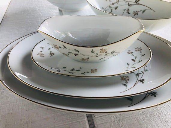 1950s Noritake Andrea 5524 Bone China Flowers Brown Leaves Etsy Vegetable Bowl Oval Platter Noritake