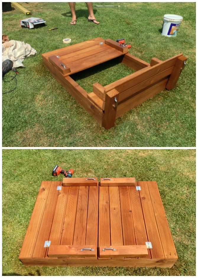 Diy Sandbox With Bench Cover Diy Sandbox Projects Video Outdoor