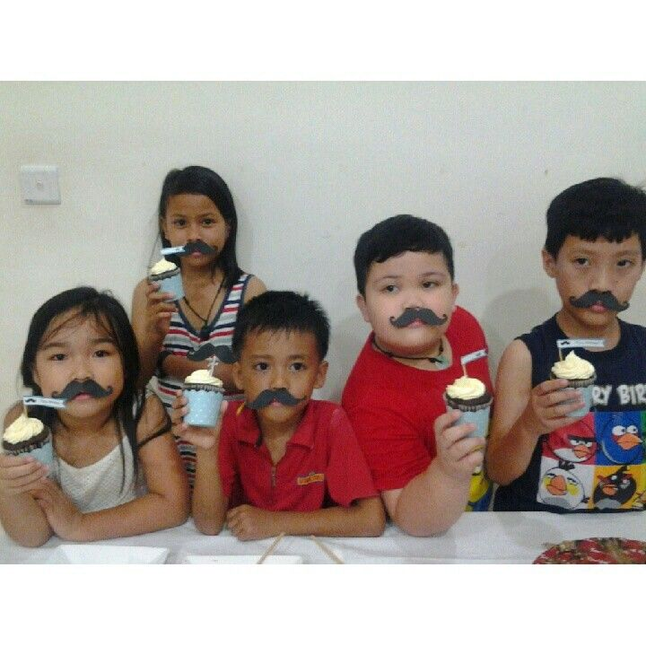 Mustche kids at 40 yo birthday party
