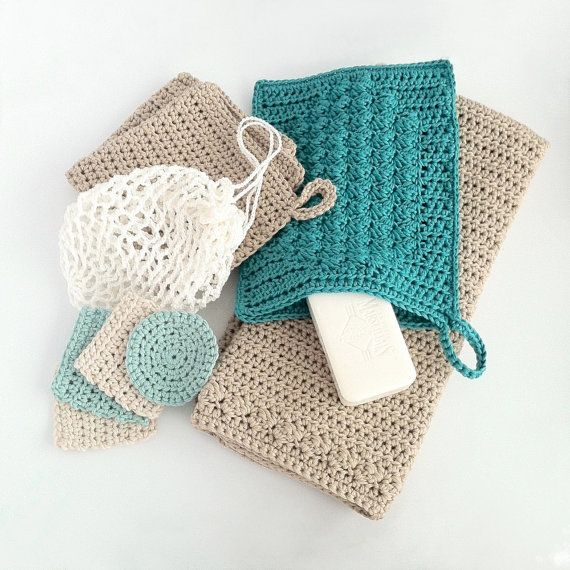 Crochet Bathroom Set / Washcloth / Guest Towel / Wash Mitt / Face Scrubbies / Laundry Bag - Crochet Patterns