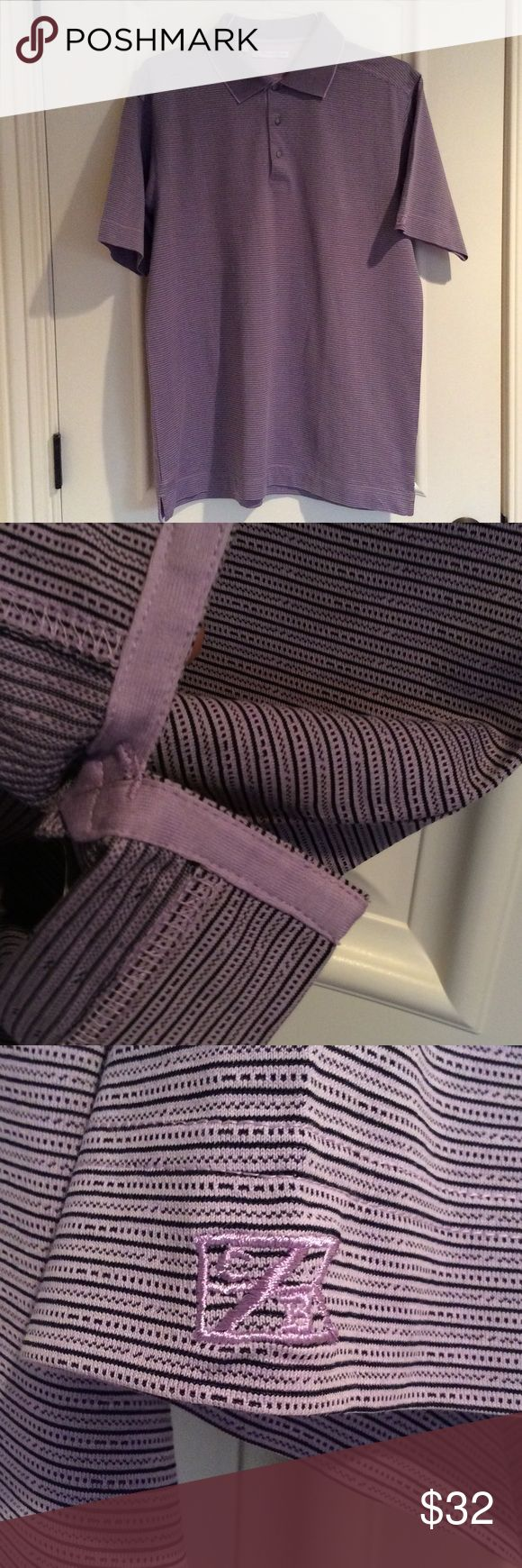 Cutter & Buck polo Lavender and black polo shirt by Cutter & Buck.  Reinforced slits at hem, as shown. Fine quality. Cutter & Buck Shirts Polos