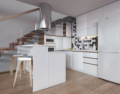 """Check out new work on my @Behance portfolio: """"Visualization. Kitchen under stairs."""" http://be.net/gallery/58446773/Visualization-Kitchen-under-stairs"""