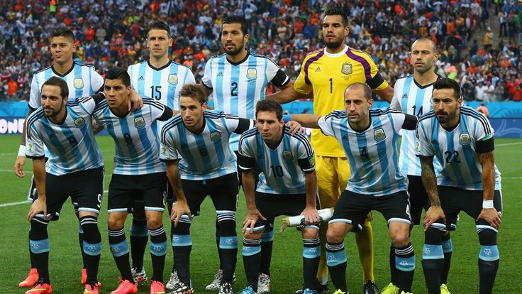 Argentina players pose for a team photo prior to the 2014 FIFA World Cup Brazil Semi Final match between the Netherlands and Argentina