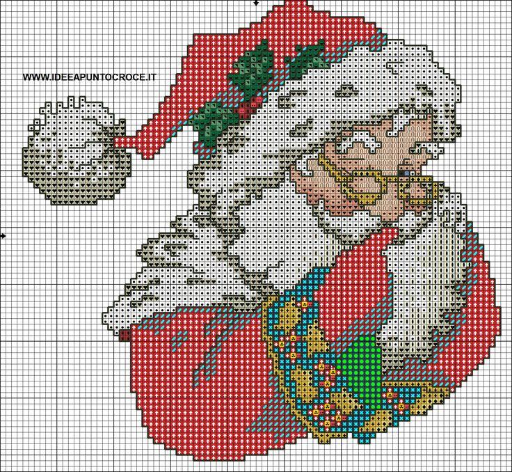 Cross-stitch Santa, part 1..  color chart on part 2...     SCHEMA BABBO NATALE PUNTO CROCE