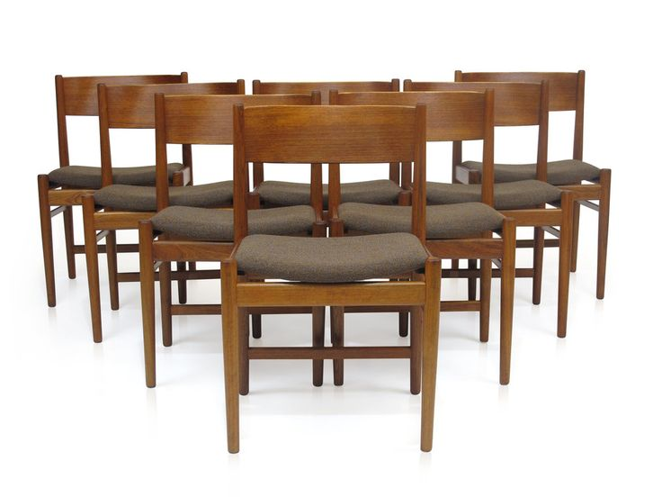 Set Of Eight Mid Century Dining Room Chairs Designed By Arne Vodder For Sibast