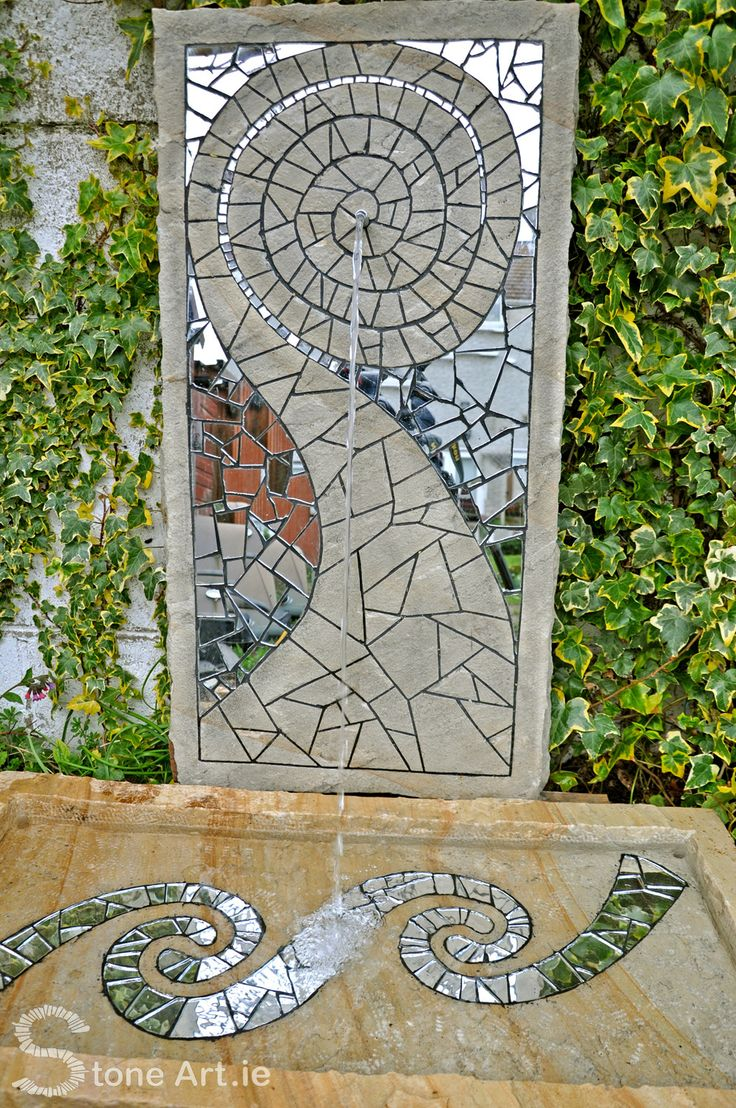 A unique one-off piece by Stone Art AKA Sunny Wieler. Natural sandstone and mirror mosaic water feature for sale €700. Comes in two pieces, each piece 900mm x 450mm x 75mm. Vertical piece with water spout can also be laid on its side. Would look great built into stonework or against a wall. This piece dose require a low powered pump and reservoir (not included but can be arranged) Delivery outside of Dublin and installation extra. Email info@stoneart.ie