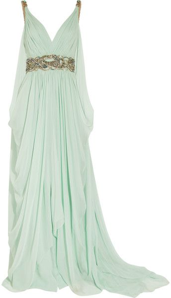 Marchesa Green Crystal embellished Silk chiffon Gown ❤❦♪♫