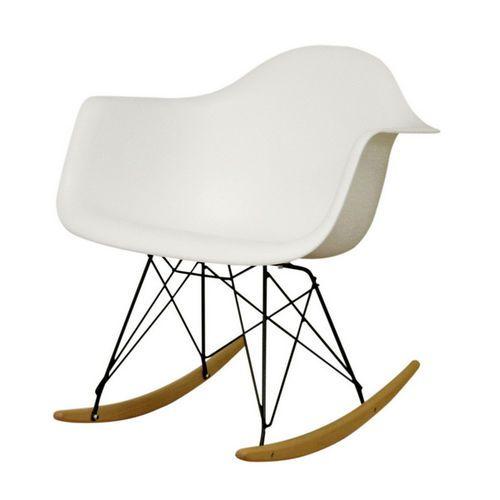 Baxton Studio Chuck Molded-Plastic Rocking Chair with Metal Legs