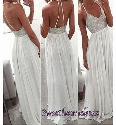 Cute backless white lace chiffon prom dress with straps, long formal dress 2016 #coniefox