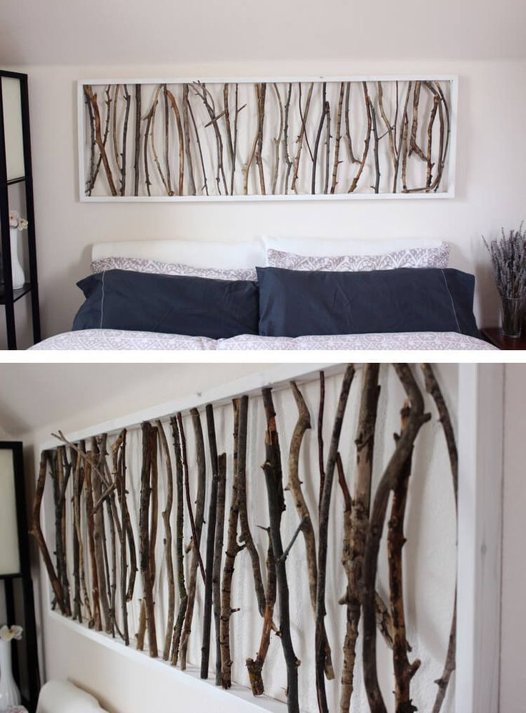 Replace a headboard - headboard alternative - Simple Framed Twig Homemade Wall Art