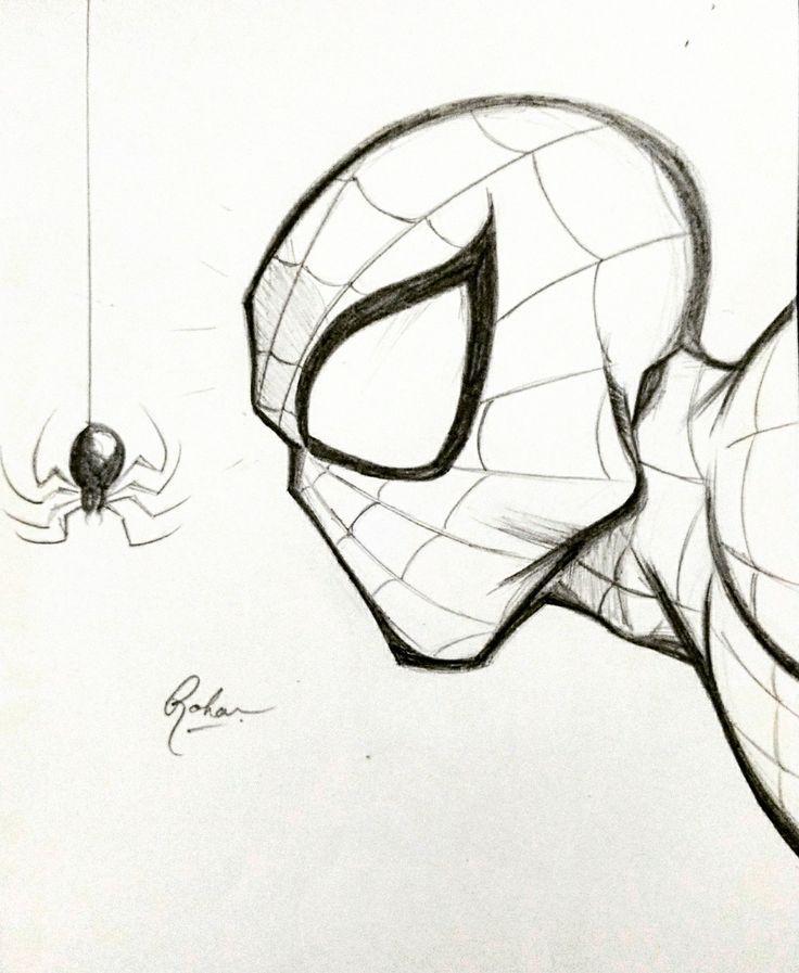Картинки человека паука для срисовки легкие