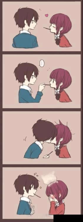 Funny Couple Cartoon Tumblr : Pocky Kiss... another way?! LoL! :D from My Little Monster! anime ...