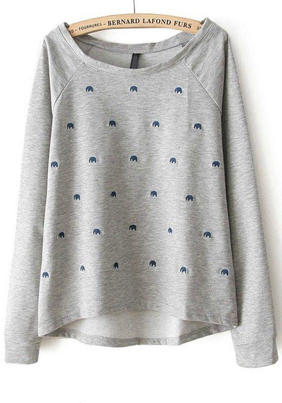 Grey Elephant Embroidery Loose Cotton Blend Sweatshirt
