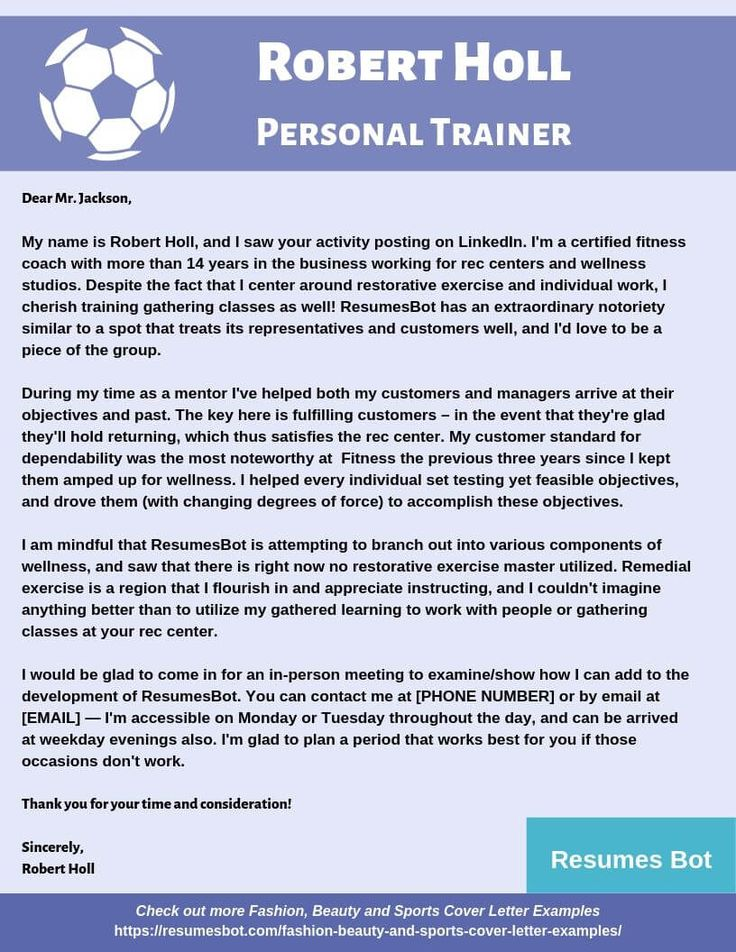 Personal Trainer Cover Letter Samples & Templates [PDF