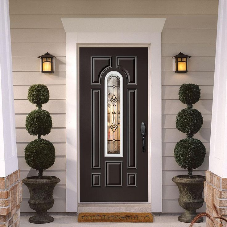 Masonite 36 in. x 80 in. Providence Center Arch Painted Steel Prehung Left-Hand Front Door with Brickmold
