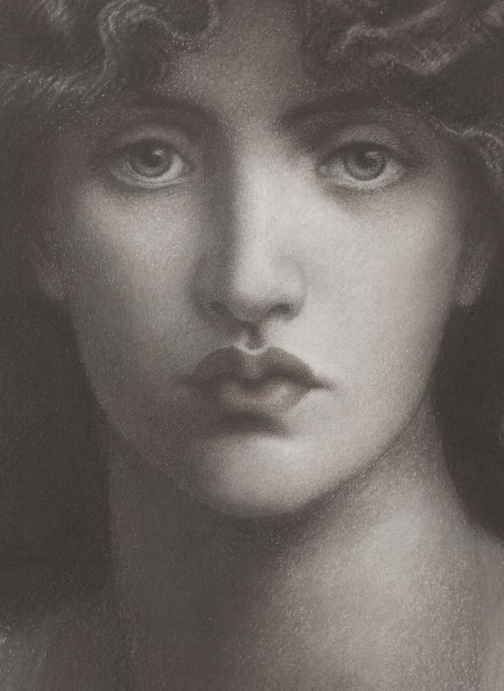 Study (detail) of Jane Morris by Dante Gabriel Rossetti, 1876, for Mnemosyne
