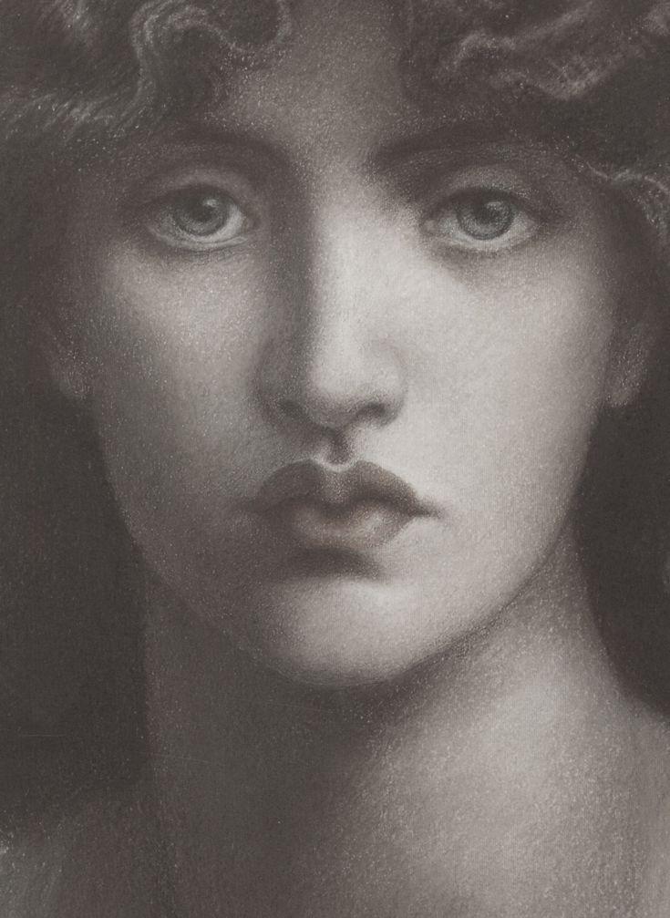 Dante Gabriel Rossetti, Study of Jane Morris for 'Mnemosyne' (detail), 1876