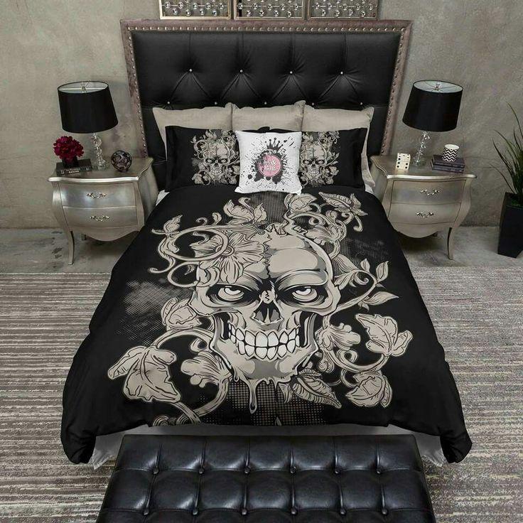 Exceptional Lightweight Skull Bedding Tan Vine Skull Design By InkandRags
