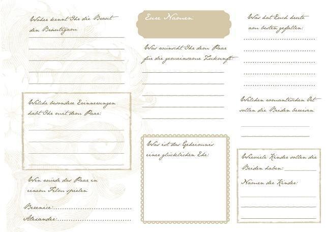 Hochzeitsgästebuch - Gästebuch Hochzeit mit Gästefragen (PDF) - ein Designerstück von Be-nice-4-you bei DaWanda