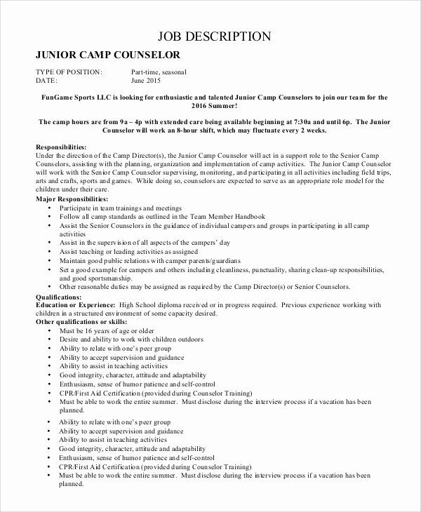 Camp Counselor Resume Description Luxury Sample Camp Counselor Job Description 9 Examples In Pdf In 2020 Camp Counselor Camp Counselor Job Description Counselors