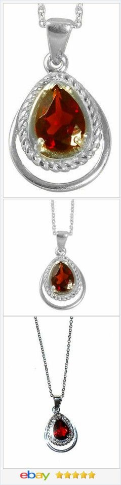 Garnet Pear cut 5 carat Solitaire Pendant Sterling USA Seller #EBAY http://stores.ebay.com/JEWELRY-AND-GIFTS-BY-ALICE-AND-ANN