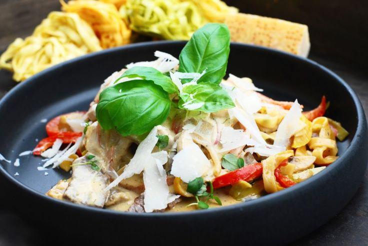 Krämig pasta med lövbiff & champinjoner