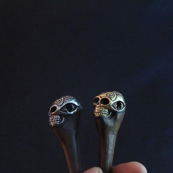 Brass Skull Hair Pins, Tribal Wood Hair Stick, Hippie Wooden Hair Accessories #AyuTribal #Hippie #Thanksgiving #hairstick #gothgirl #gothmodel #tribalskull