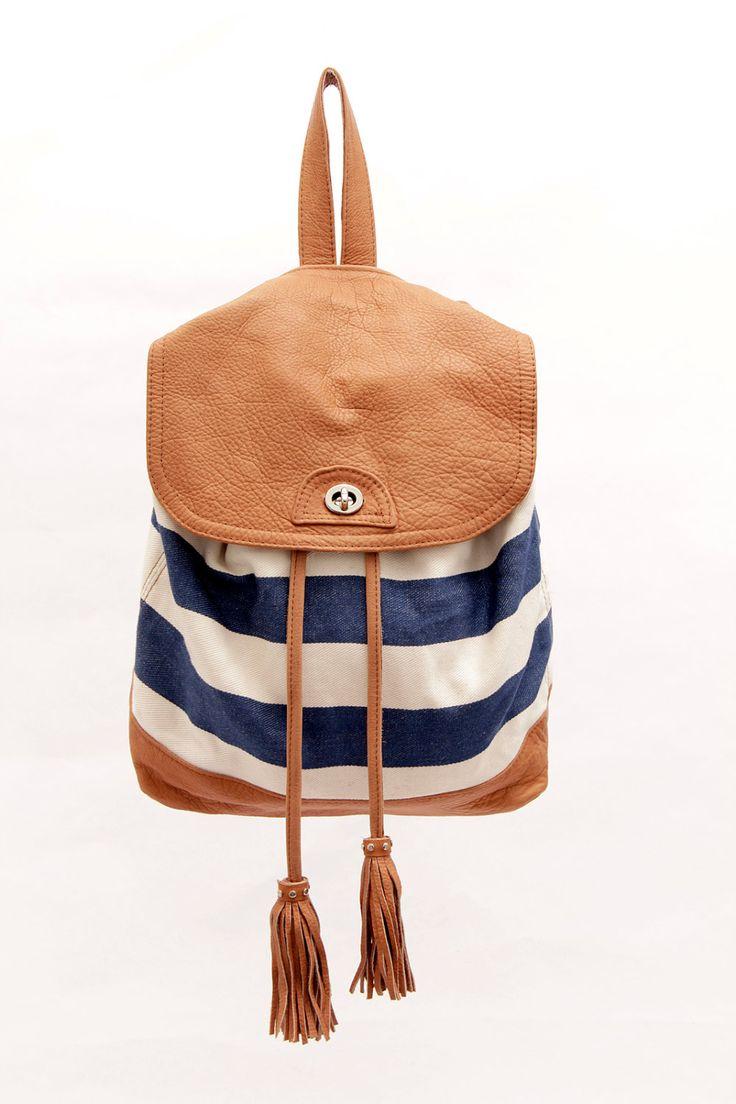 Belar Backpack & shoulder bag: Shoulder Bags, Cute Backpacks, Style, Sabrinatach, Stripes Backpacks, Denim Blue, Leather Backpacks, Sabrina Tach, Belar Backpacks