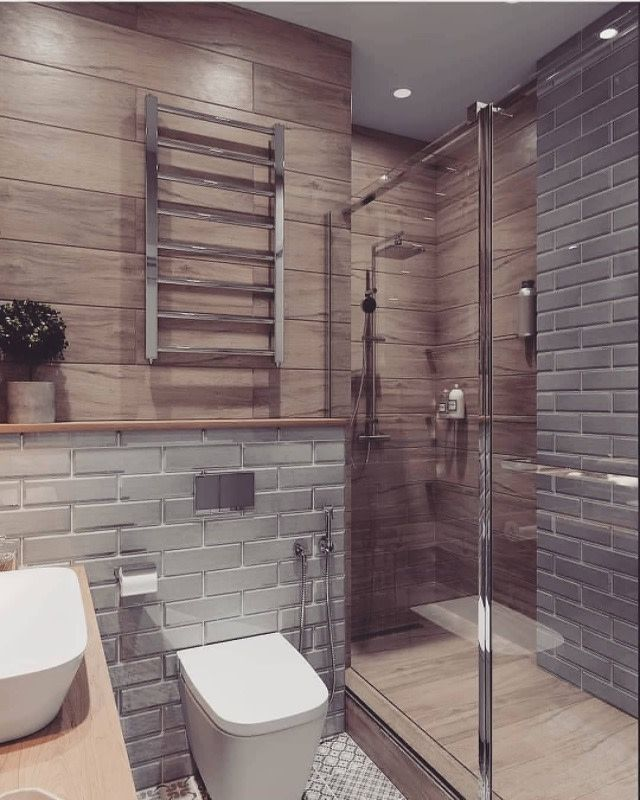 How Dreamy Is This Mix Of Stone Wall Pattern And Wood Panelling We Could Totally See This Ba Small Bathroom Remodel Bathroom Interior Design Bathrooms Remodel