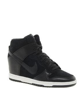 Image 1 of Nike Dunk Sky High Black Wedge Trainers