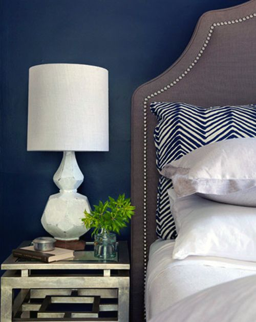 grey, white and navy with pops of yellow for master bedroom