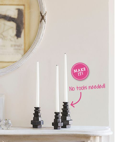 These industrial-chic candlesticks are easy to assemble and make a striking sculptural statement