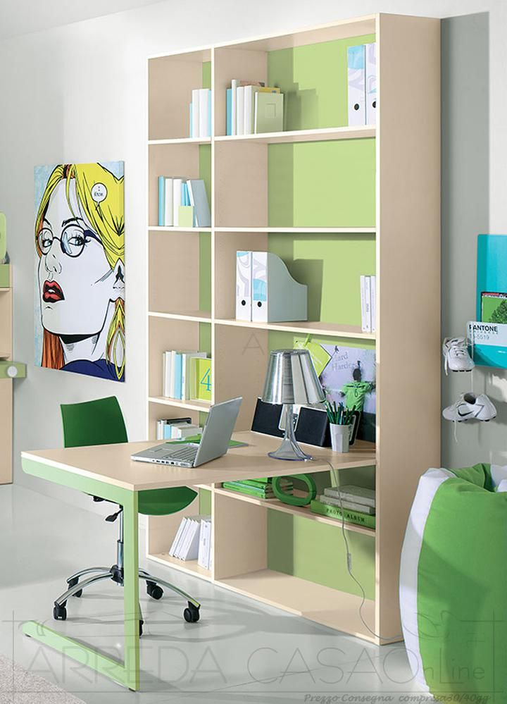 Libreria e scrivania cameretta bambini GT0020LIB | Prezzo ARREDACASAOnLine