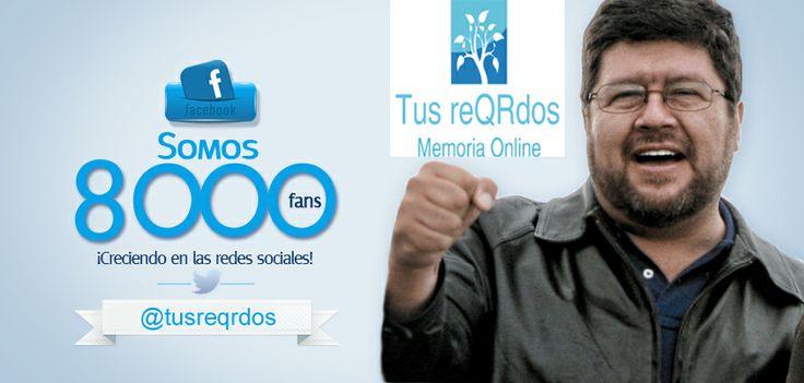 Llegamos a mas de 8000 Me gusta!!! y continuamos ayudando a las personas y a sus familias a compartir historias de Vida, a preservar sus legados y a conectar generaciones. www.tusreQRdos.com
