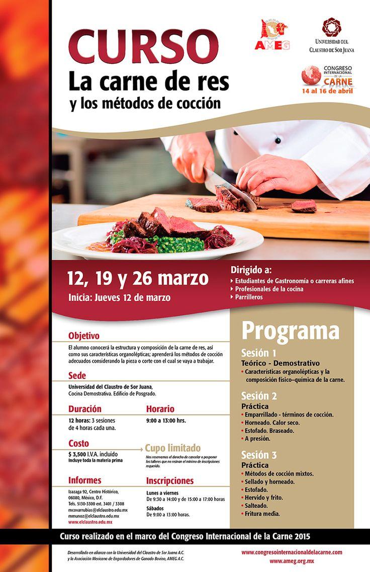 Poster oficial del curso: La carne de res y los métodos de cocción.
