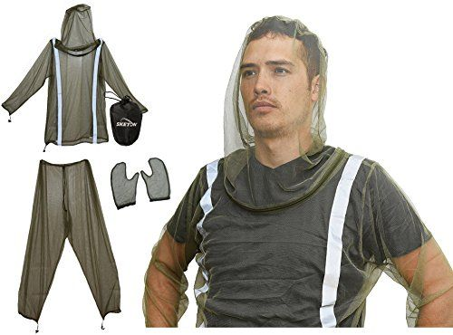 Mosquito Bug Net Jacket with Reflectors Pants and Mitt's Mosquito Bug Suit with Zipper on Hood by Sketon for Camping Hiking and Yard Work, Bug Mosquito Protection with Small Carrying Pouch Check out the image by visiting the link.