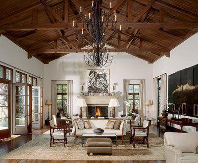 architectural digest: Ceilings Beams, Living Rooms, Rustic Elegant, Mariett Hime, High Ceilings, Families Rooms, Woods Ceilings, Architecture Digest, Vault Ceilings