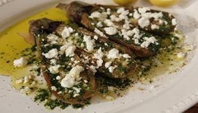 Grilled aubergines with olive oil, garlic, parsley and feta cheese - I did them in the oven 1 hour at 150 they go all sticky and tasty - great for warm salads