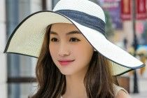 Floppy sun hat for girls cheap bow wide brim straw hats UV protection