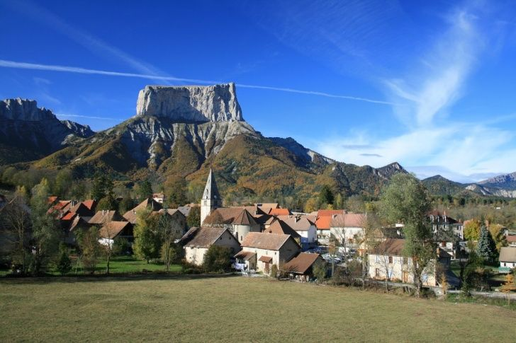 Chichilianne, Rhone Alpes, France - The breathtaking Mont Aiguille is nearly 7,000 foot tall and offers amazing views of the French Prealps.