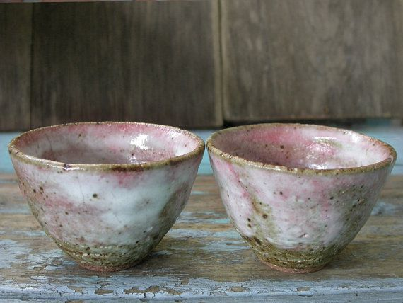 Pink Bowl Japanese Ceramics Tea Bowls Wabi Sabi by Singhato                                                                                                                                                                                 More
