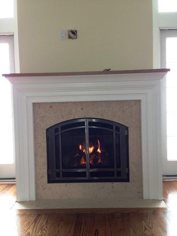 Mendota DXV35 DXV45 Direct Vent Gas Fireplaces Custom Wall Custom Mantle all by RFS
