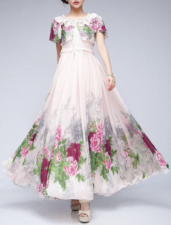 Summer chiffon long dress lady women clothing gown dress by handok,