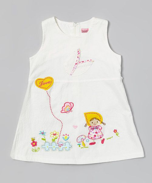 Brimming with cheery hues, embroidery and darling appliqués, this frock radiates sweetness to match the little lady wearing it. Soft cotton washes easily when uh-ohs happen, and a zipper up the back makes getting dressed a breeze.